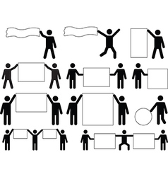 People holding blank banners vector