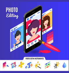 photo editing tools for social media networks vector image vector image