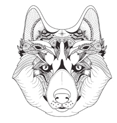 Poster with patterned husky vector image vector image