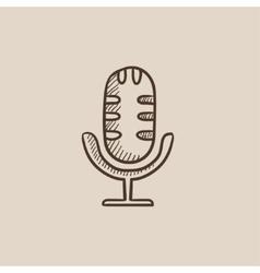 Retro microphone sketch icon vector image
