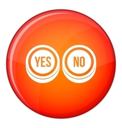 Round signs yes and no icon flat style vector