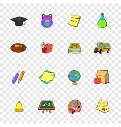 School icons set pop-art style vector