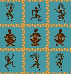 Seamless pattern of dancing african aborigines vector