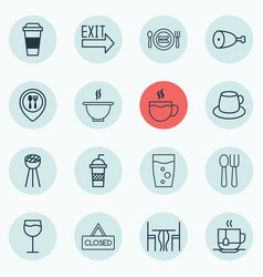 Set of 16 meal icons includes tea bowl doorway vector