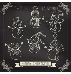 Set of chalk snowmen vector image vector image