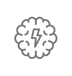 Simple brain and mind line icon symbol and sign vector