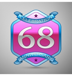 Sixty eight years anniversary celebration silver vector