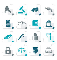 stylized law police and crime icons vector image vector image