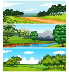 Three nature scenes with fields and trees vector image