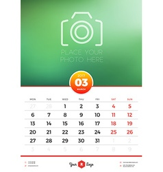 Wall calendar template for 2017 year march design vector