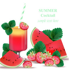 Watermelon and strawberry smoothie delicious vector