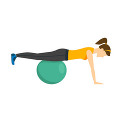woman making right exercise with fitness ball vector image vector image