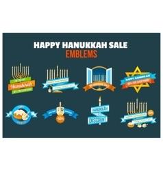 Happy hanukkah sale emblem set vector