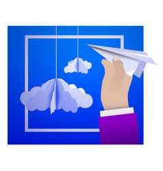 Male hand holding a paper plane against the sky vector