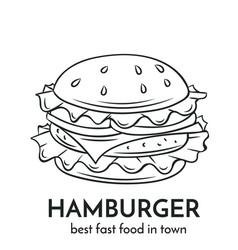 hand drawn hamburger icon vector image