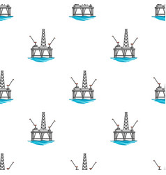 Oil rig on the wateroil single icon in cartoon vector