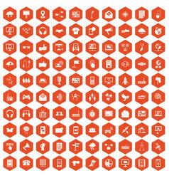 100 communication icons hexagon orange vector image