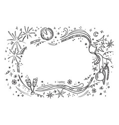 cartoon doodles hand drawn new year vector image