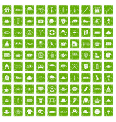 100 hat icons set grunge green vector