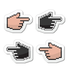 Pixel cursor poiting hands icons vector image