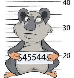 Panda the prisoner criminal mug shot cartoon vector