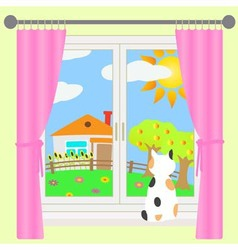 Rural landscape outside the window vector