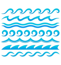 Water waves design elements set vector
