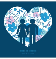 Blue and pink kimono blossoms couple in vector