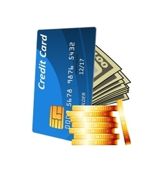 Credit card with cash and golden coins vector image