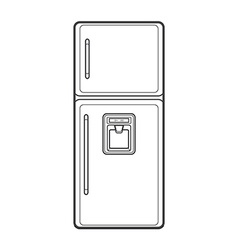 Outline kitchen refrigerator vector