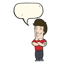 cartoon man with folded arms grinning with speech vector image
