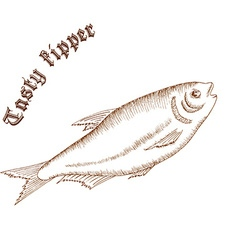 Pencil hand drawn of fish with label tasty kipper vector