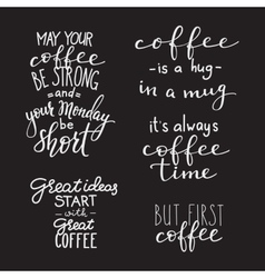 Quote coffee typography set vector