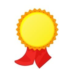 Gold award with ribbon icon cartoon style vector
