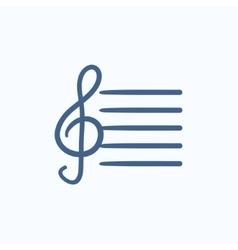 Treble clef sketch icon vector