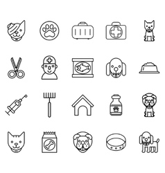 Veterinary line icons pets thin signs vector