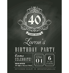 Anniversary birthday card chalkboard background vector