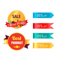 best products sale labels set with percent signs vector image