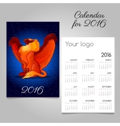 Bright calendar 2016 with griffon decoration vector