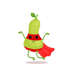 Cartoon of comics superhero pear with vector