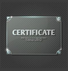 Certificate design on glass plate mockup vector