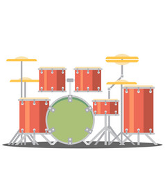 color flat style drum set on white background vector image