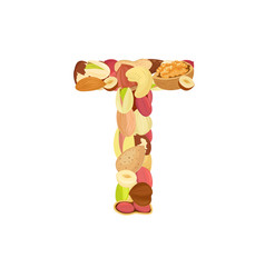 delicious letter made from different nuts t vector image vector image