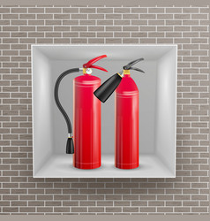 fire extinguisher in brick wall niche vector image vector image