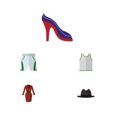 Flat icon clothes set of clothes singlet heeled vector
