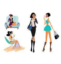 girls in different situations vector image