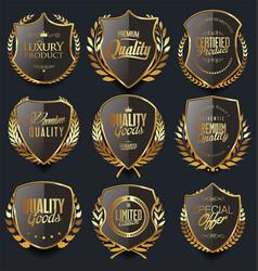 Golden shields and laurel wreaths retro design vector
