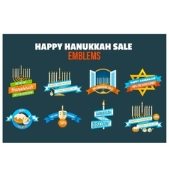 Happy hanukkah sale emblem set vector