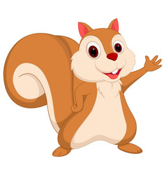 happy squirrel cartoon presenting vector image vector image