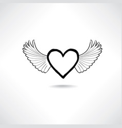 love heart with wings valentine day icon lost vector image vector image